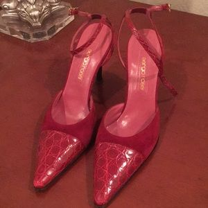 Sergio Rossi Red Suede/Croc Ankle Wrap Heels